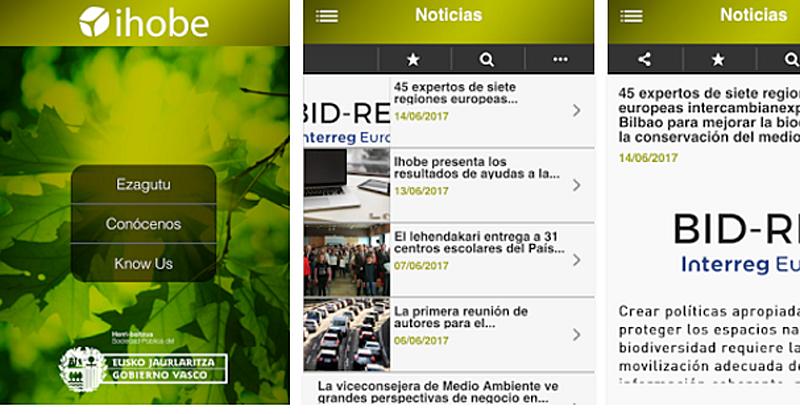 """Aplicación de móvil gratuita """"Ihobe Medio Ambiente-Ingurumena""""."""