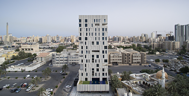 Edificio Wind Tower ubicado en Salmiya, Kuwait.