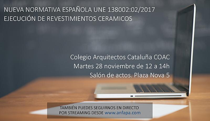 El 28 de noviembre se celebrará una jornadasobre la nueva Normativa Española para la colocación de baldosas cerámicas en COAC.