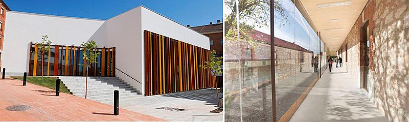 Figura 3. Obra nueva biblioteca en Villamediana (La Rioja) y Rehabilitación Universidad de Burgos.