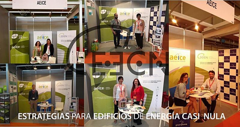 Figura 4. Diferentes momentos en el stand de AEICE en Expobiomasa, 26 a 29 de septiembre de 2017.