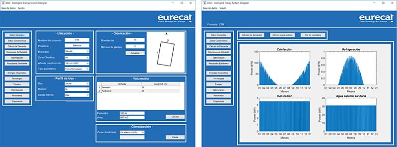 Figura 4. Ejemplo de la interfaz de usuario para la configuración y predicción de las demandas.