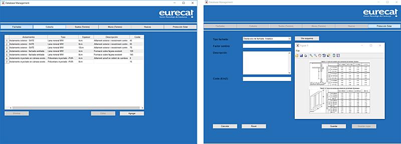 Figura 5. Ejemplo de la base de datos de las soluciones tecnológicas pasivas.