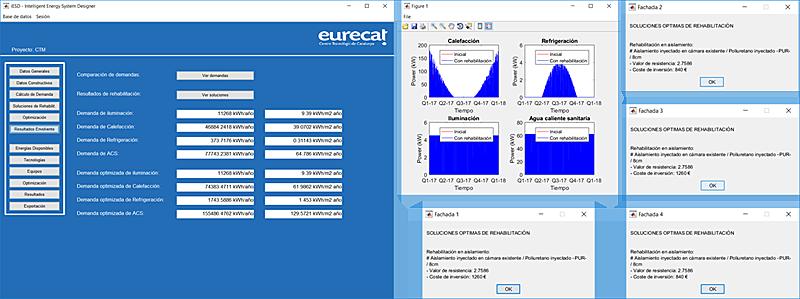 Figura 8. Ejemplo de resultados de soluciones óptimas de rehabilitación energética (parte pasiva).