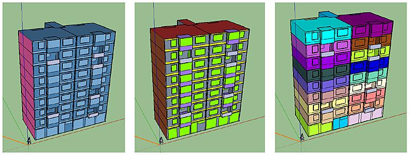 Figura 3. Simulación realizada con EnergyPlus sobre la tipología de bloque Alcalà. a) Condiciones de contorno, b) Materiales, c) Zonas térmicas, Fuente: Associació LIMA, AMB (2016).