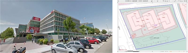 Figura 4. Fachada Sureste, OVC. Figura 5. Planta del edificio.
