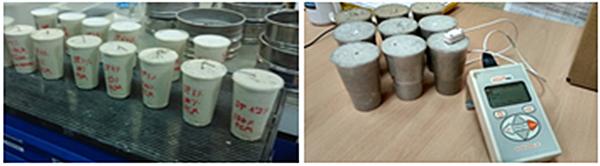 Figura 2. Ejemplos de muestras de mortero analizadas para el cálculo de la conductividad térmica.