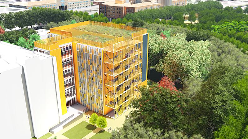 Figura 1. El edificio IndUVA en el campus Mergelina, en proyecto.