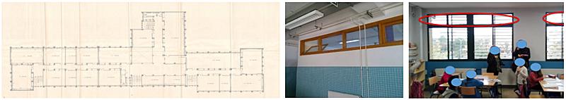 Figura 1. Edificios escolares a) izda: planta tipo, b) centro: montantes a pasillo; c) dch: ventanas en fachada.