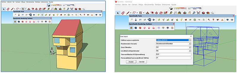 Figura 1. Introducción de la geometría en SketchUp.