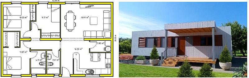Figura 1. Proceso descriptivo construcción-Plano e imagen de la vivienda.