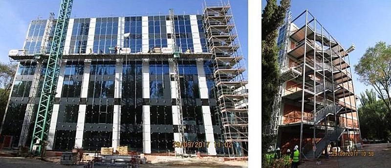 Figura 2. Diseños diferentes para cada fachada: muro cortina y futuro muro fotovoltaico (Sept. 2017).