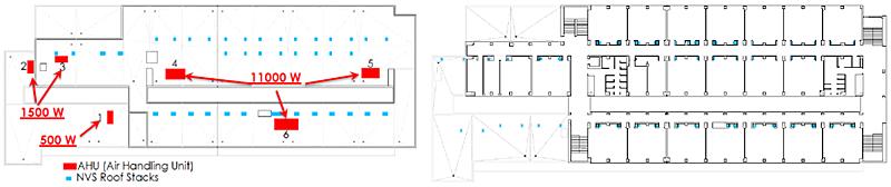 Figura 6. Edificio test. a) izda: cubierta; b) dcha: planta primera.