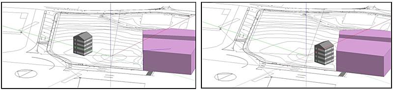 Figura 6. Modelo de simulación en función del emplazamiento del edificio con respecto de los sombreamientos de la parcela (Fuente: EnergyLab).