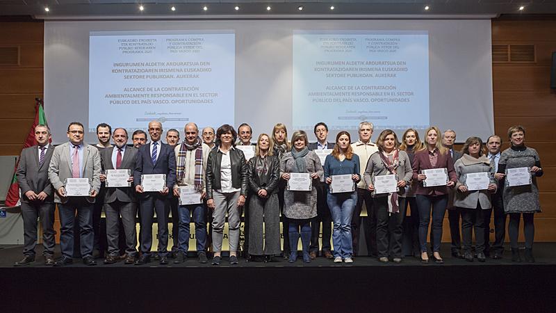 Acto de reconocimiento público a las entidades adheridas al Programa de Compra y Contratación Pública Verde del País Vasco.