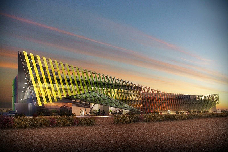 Fachada de vidrio fotovoltaico multicolor de Onyx Solar en Dubai.