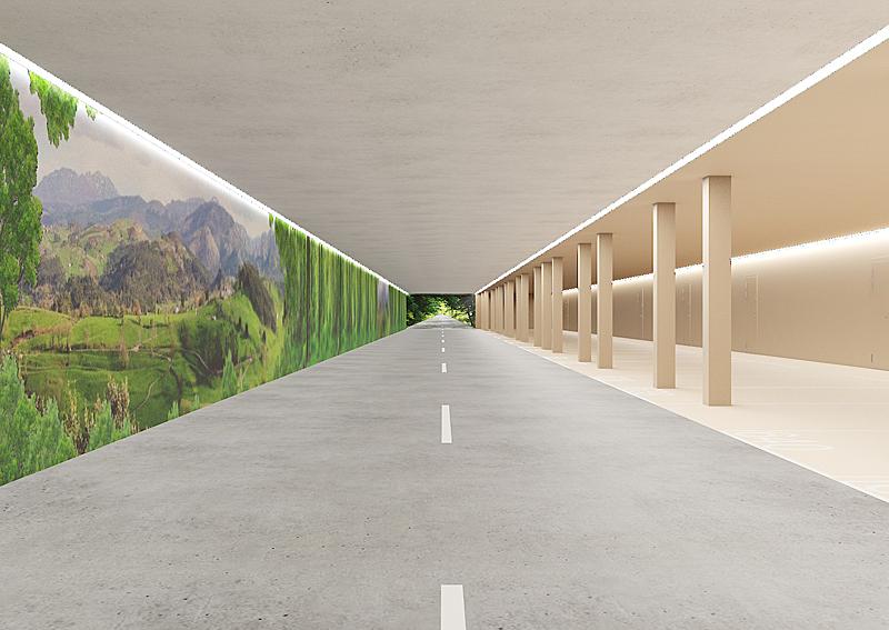 Luces led perimetrales, imágenes que cubren las paredes y techos para generar profundidad y continuidad del espacio y una estructura en tonos cálidos son las principales apuestas de Vía Célere en la revolución del concepto de los garajes residenciales.