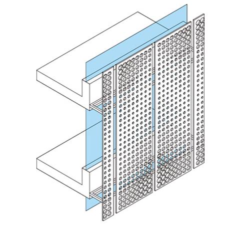 Figura 1. Esquema típico solución doble piel vidrio-metal.