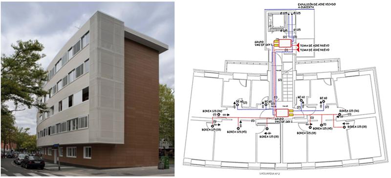 Figura 1. Foto del edificio en el que se sitúa la vivienda analizada (Izq.), y plano de la vivienda analizada (Dcha.).