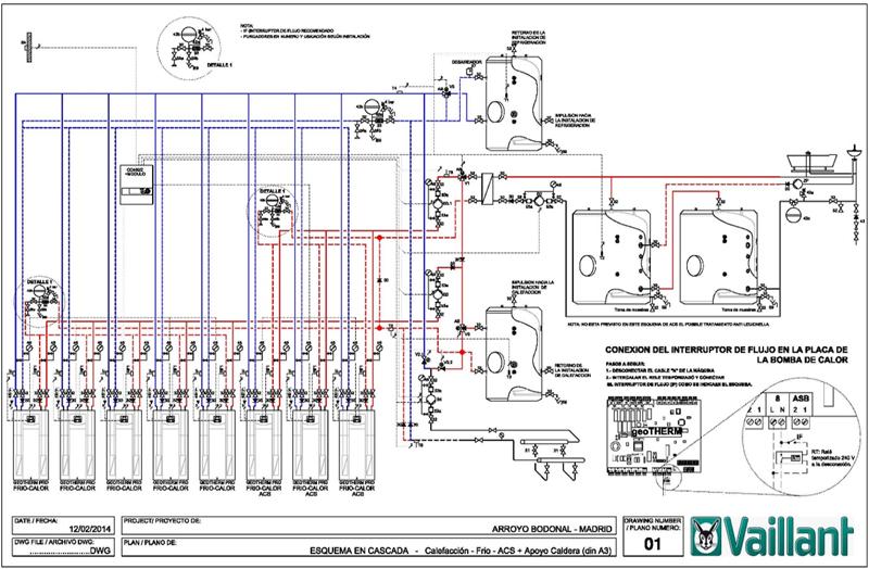 Figura 3. Esquema de principio de la instalación de generación. Cascada de 10 bombas de calor geotérmicas gestionada por una única centralita, con aprovechamiento energético de la demanda simultánea de calefacción, refrigeración y ACS. Fuente: Vaillant.
