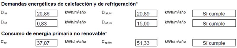 Figura 3. Verificación de Requisitos de CTE HE 0 y HE1 mediante HULC.
