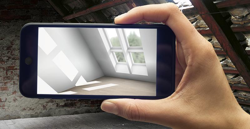 El App de Velux permite visualizar la luz natural en una reforma en el móvil.