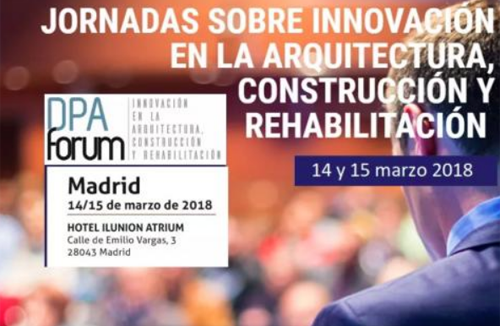 cartel de las jornadas sobre innovación en la arquitectura, construcción y rehabilitación
