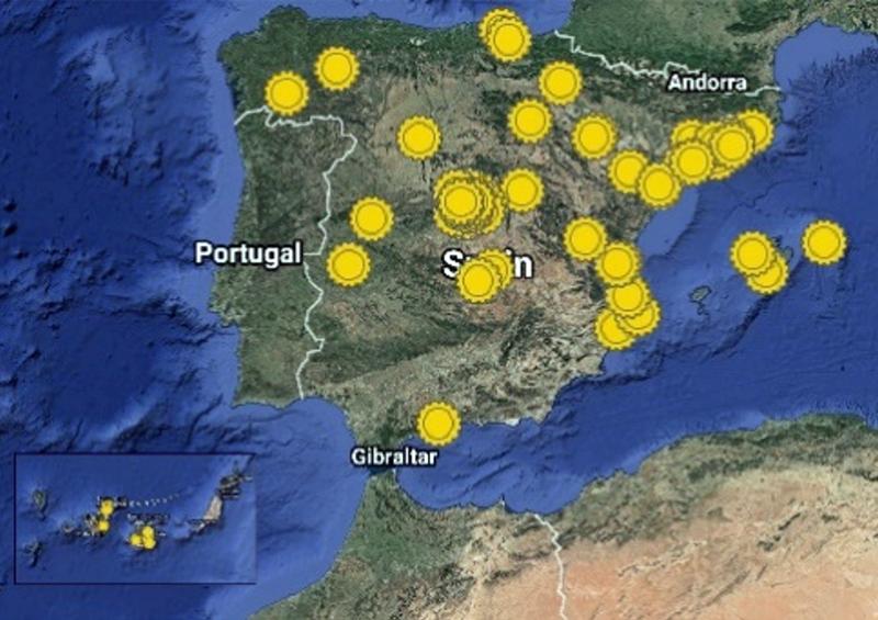 Figura 1. Mapa con los hogares que forman parte de la Oleada Solar.