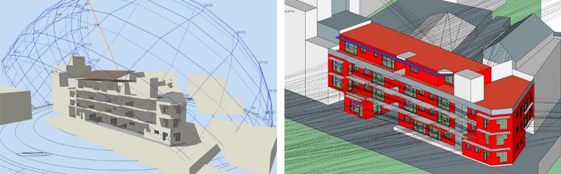 Figura 1. Simulación energética. Design Builder (izquierda) y DesignPH-PHPP (derecha).