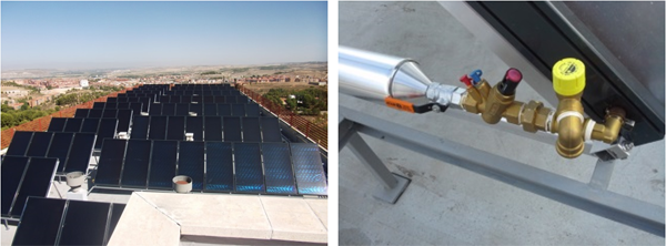 Figura 3. Instalación de los captadores solares en la cubierta.