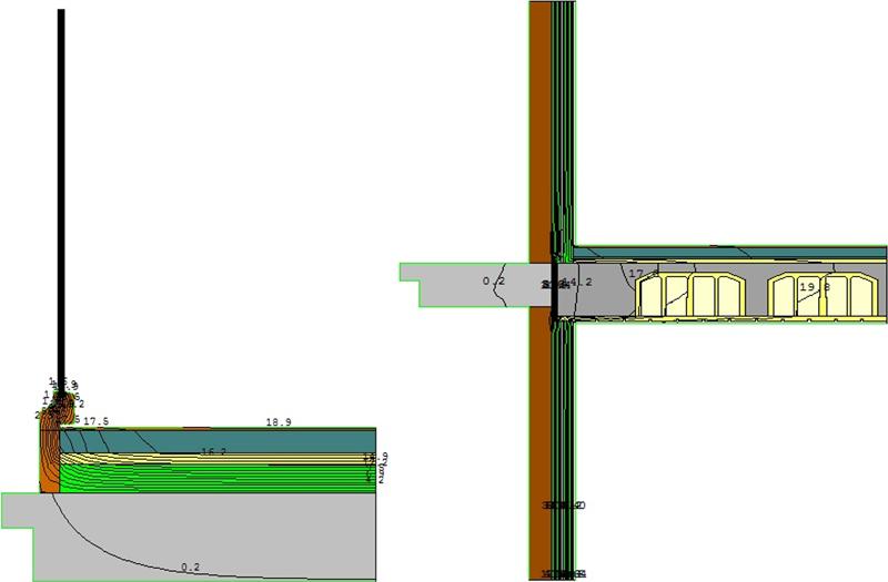 Figura 5. Detalle del cálculo de los puentes térmicos; en la izquierda detalle de encuentro suelo exterior de fachada y a la derecha encuentro detalle de balcón.