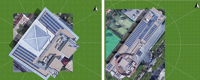 Figura 6. Distribución de los módulos fotovoltaicos en el Edificio A (izquierda) y el Edificio B (derecha).