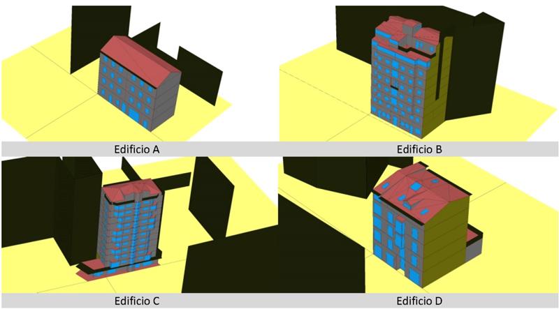 Figura 1. Modelizaciones energéticas de los edificios con HULC.
