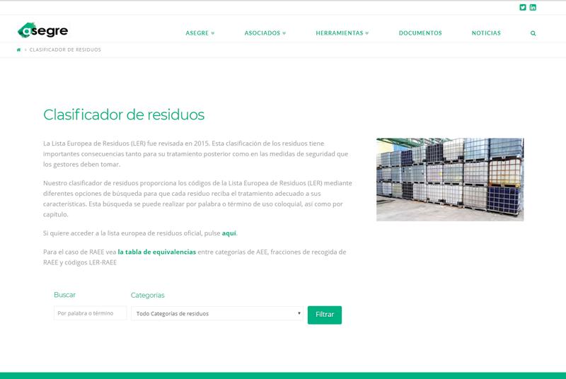 Buscador online de Asegre para la identificación de los residuos