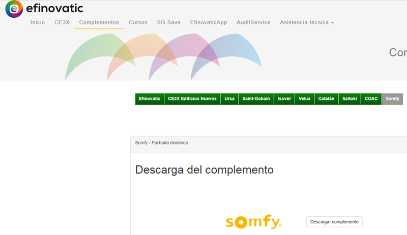 El complemento Somfy permite incluir control solar automático en el cálculo de la calificación energética de los edificios