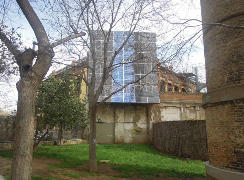 fachada lateral de la fábrica del sol