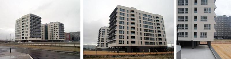 Figura 1. Diferentes vistas del edificio de 171 viviendas sociales terminado.