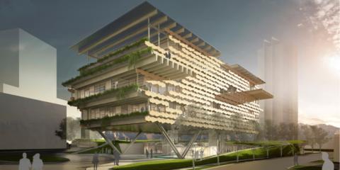 Wellness Hub, Edificio Energía Casi Nula, con celosía bioclimática, prefabricada de hormigón poroso, en México