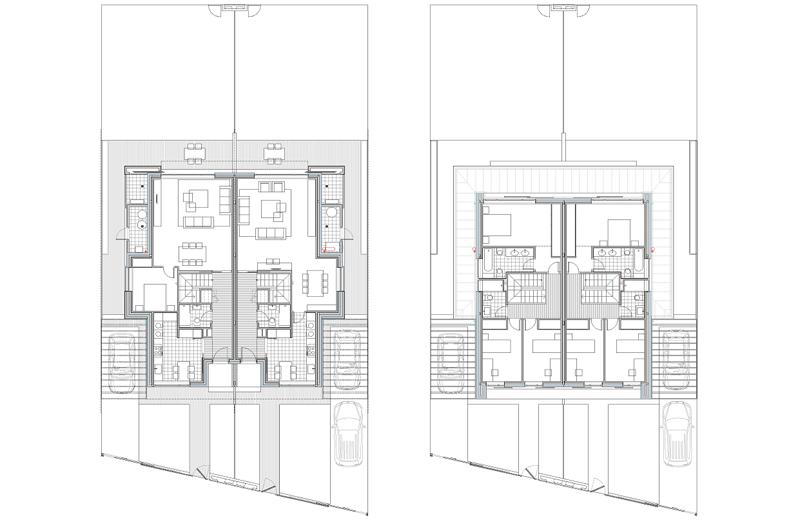 Imagen 2. Plantas baja y alta. Vivienda Passivhaus.