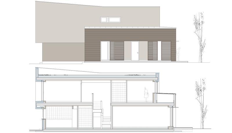 Imagen 3. Alzado y sección lateral. Vivienda Passivhaus.