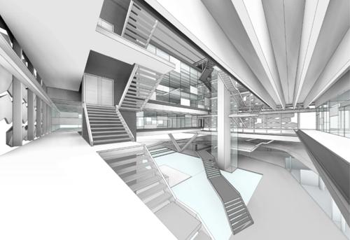 Figura 4. Patio central con el núcleo de comunicaciones.