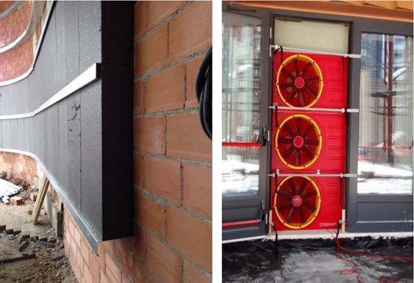 Figura 8. Aislamiento fachada 20 cm. Figura 9. Test de Blower Door.