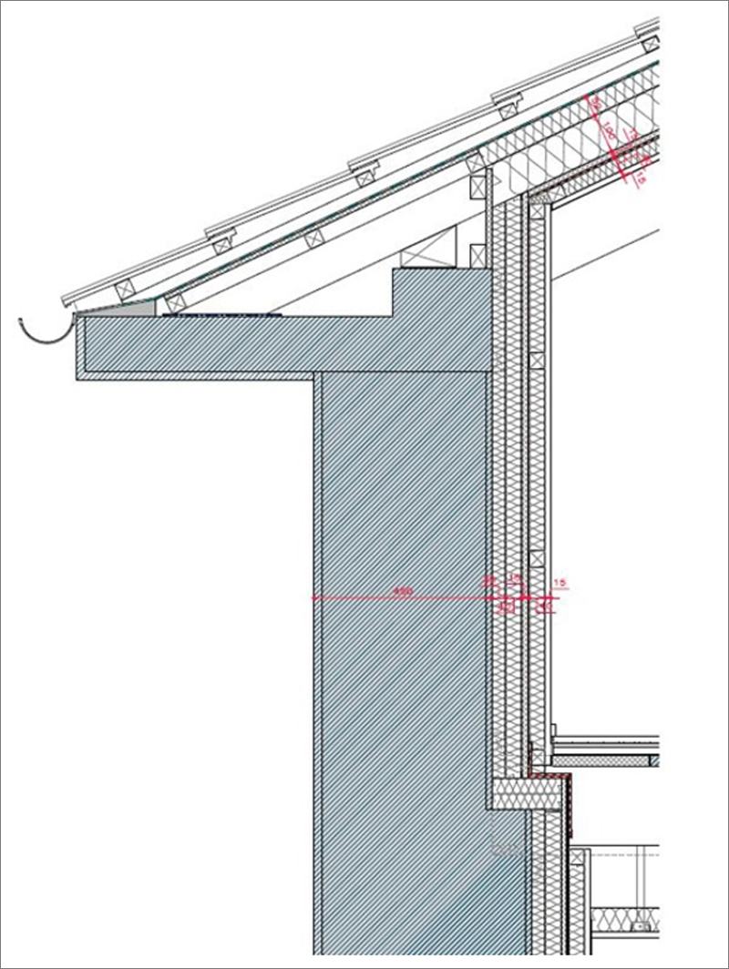 Detalle fachada cubierta