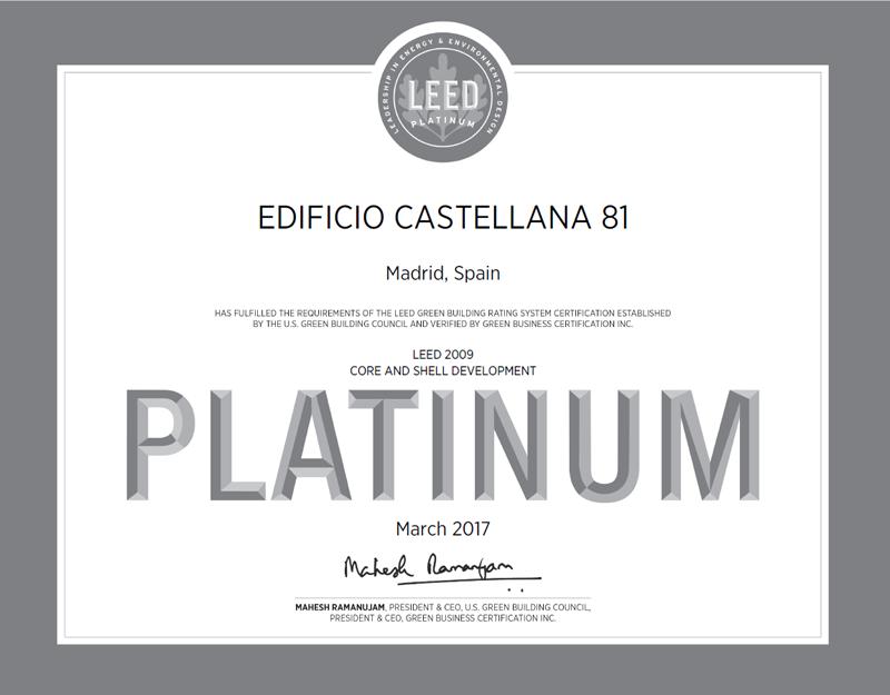 Certificado Platinum Edificio Castellana 81