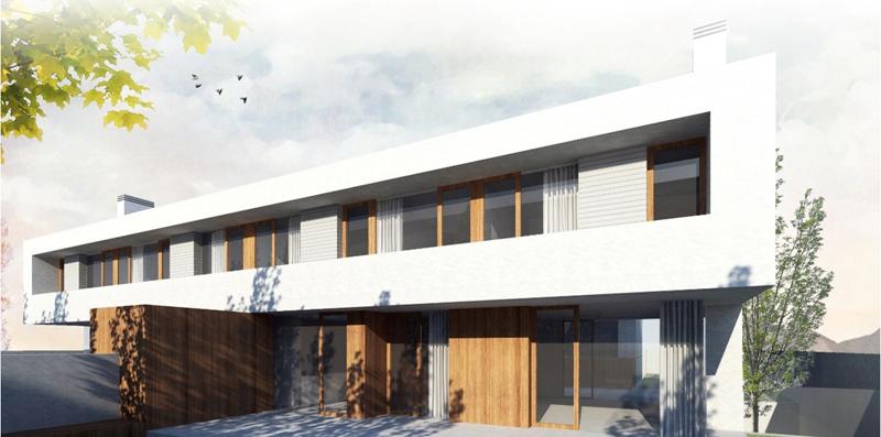 Figura 1. Fachada delantera de las dos viviendas correspondiéndose con orientación Sur.
