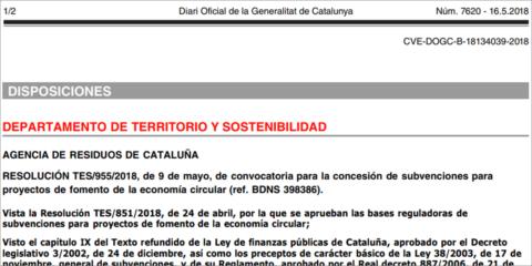 La Generalitat de Cataluña convoca 830.000 euros en ayudas para fomentar la economía circular