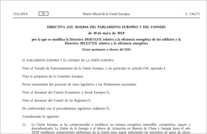 Publicación BOE modificaciones de la directiva europea relativa a la eficiencia energética en edificios