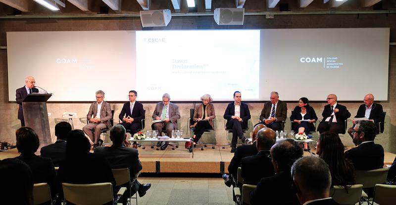 Presentación de la Declaración de Davos 2018 en la sede del Colegio Oficial de Arquitectos de Madrid