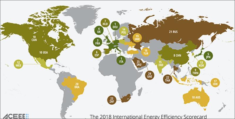 Mapa con los 25 países incluidos en el informe