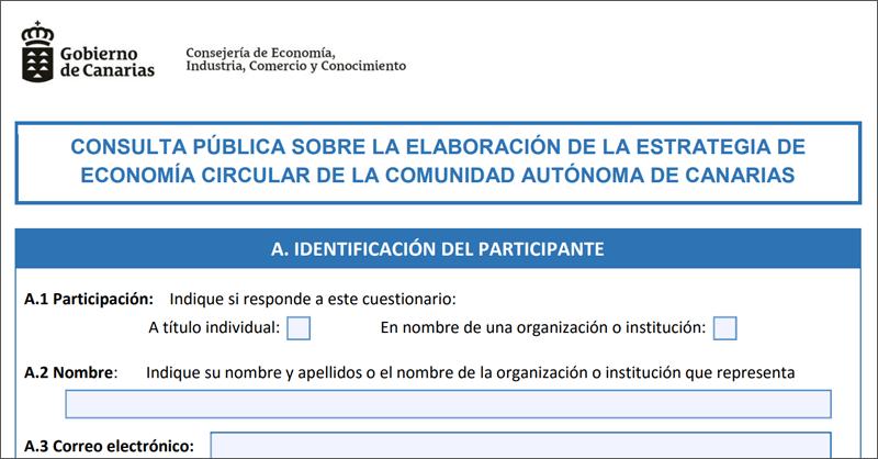 Formulario ficha Consulta pública Estrategia de Economía Circular Canarias